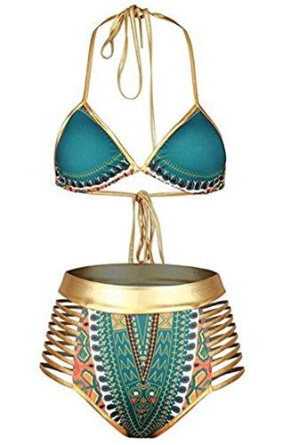 Ibelive Damen afrikanisch-Bikini-Satz Halter mit hohen Taille 2 angeschnitten Badeanzug Grün