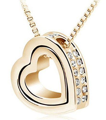 SaySure - gold silver Double Heart Necklaces Pendants Elements Crystals - Crystal Watch Quartz Pendant