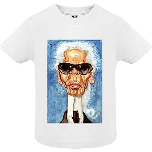 T-Shirt - Manche Courte - Col Rond - Caricature de Karl Lagerfeld - Bébé Garçon - Blanc - 2ans