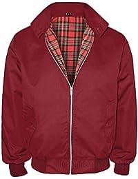 Harrington Jackets for Mens Retro Smart Classic Jacket (X-Large, Maroon)