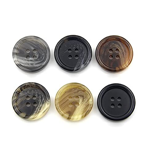 Resin Button 4 Holes Suit Buttons Classic Basic Buttons Assorted Sizes Pack of 10