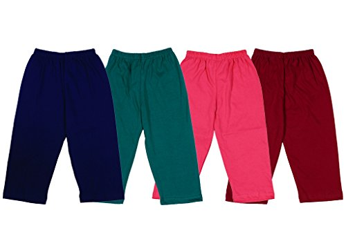 Ole Baby Girls Solid Multicolor Comfortable Salwar Leggings Pants Pack of 4 (Size:Large)