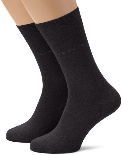 ESPRIT Herren Socken Basic Easy Doppelpack SO, Gr. 43/46, Grau (anthrazit meliert 3080)