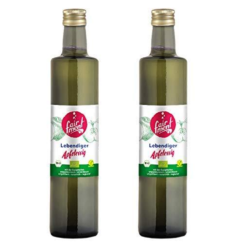 Fairment Apfelessig - bio, naturtrüb, mit der Essig-Mutter, unpasteurisiert, lebendig und ungefiltert - Apple Cider Vinegar aus deutscher Produktion, 1 Liter -