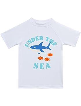 ESTAMICO Traje de baño de verano de protección solar UPF 50+ para manga corta para niños impreso Blanco 4 años