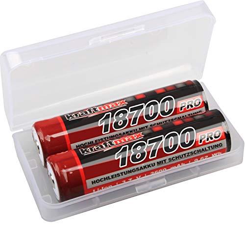 kraftmax 2er Pack 18700 Pro Akku mit PCB Schutzschaltung - speziell für LED Taschenlampen (3,7V / 9,62 Wh) - 18650 Lithium-batterie