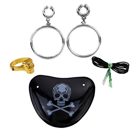 P PRETTYIA Skelett Party Cosplay Zubehör Set Totenkopf Augen Patch Gold Ring und Knochen Augen Patch