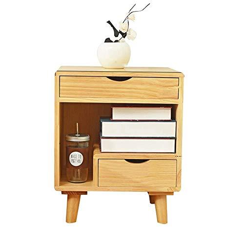 ACZZ Tisch, Nachttisch, Beine Aus Massivem Holz Mit 2 Schubladen Versteckte Form Griffe Mehrschichtiges Ablagefach Für Zu Hause, 2 Farben,A,Tabelle -