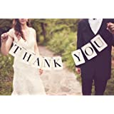 THANK YOU WHITE BLACK BUNTING SIGN WEDDING DECOR VINTAGE RETRO PHOTO PROP UK NEW