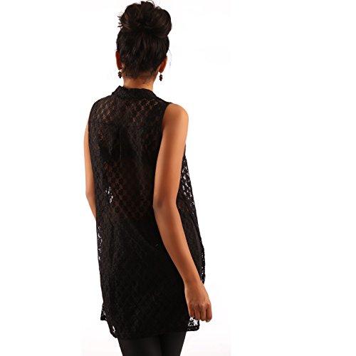 Damen Bluse Spitzenbluse aus transparenter Spitze mit tiefen Seitenschlitzen Schwarz