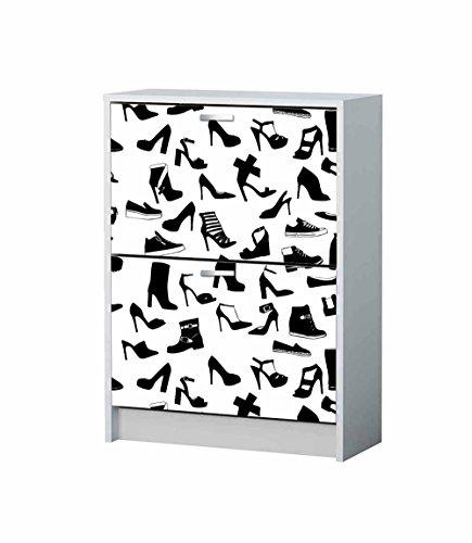 Vinilo decorativo Mueble Zapatero siluetas zapatos | Varias Medidas 65x85cm | Adhesivo Resistente y de Facil Aplicación | Blaco y negro | Pegatina Adhesiva Decorativa de Diseño Elegante |
