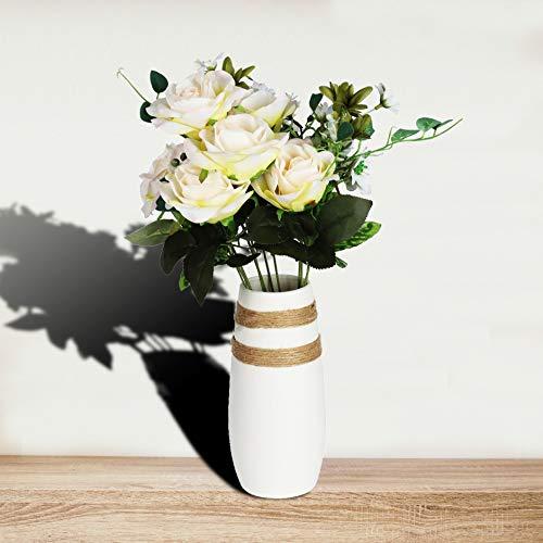 Caeser Archy Keramik Blumenvase Weiß Moderne Vase Für Wohnzimmer Wohnkultur Keramische Ornamente Vasen Hohe 21,9 cm Kaliber 7,3 cm -