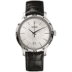 Balmain Men's 43mm Black Crocodile Leather Band Steel Case Quartz Silver-Tone Dial Watch B4061.32.26