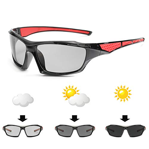 WBAHJFrame Photochromic Sunglasses Men HD Polarisierte Sonnenbrille Allwetter-Schutzbrille