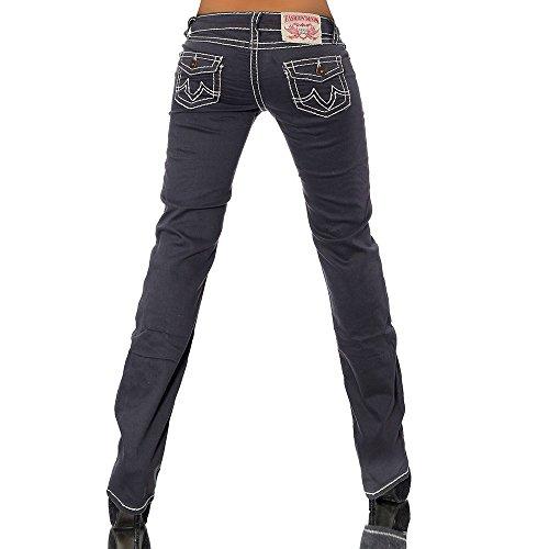 H922 Damen Bootcut Jeans Hose Damenjeans Hüftjeans Gerades Bein Dicke Naht Nähte, Farben:Steingrau;Größen:42 (XL) -