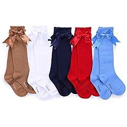 Pettigirl Pettigirl Arco de las muchachas calcetines elastizados hecha a mano de la rodilla calcetines de alta Bebé Boutique Camello