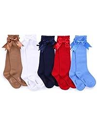 Pettigirl Arco de las muchachas calcetines elastizados hecha a mano de la rodilla calcetines de alta Bebé Boutique