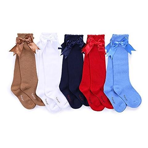 Pettigirl Girls Bow Socks Stretch Handmade Knee High Baby Socks Boutique , Red , 28-31