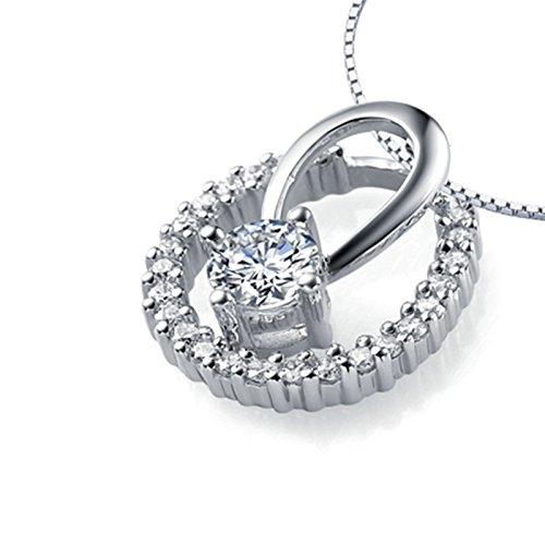 Daesar Echte Damen Halskette 18 Karat (750) Weißgold Runde & Diamant Weiß Anhänger Halskette Kette 45cm (Coin Hund Set)