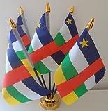 Zentralafrikanische Afrika Republic 5Flagge Desktop Tisch mit Gold Boden