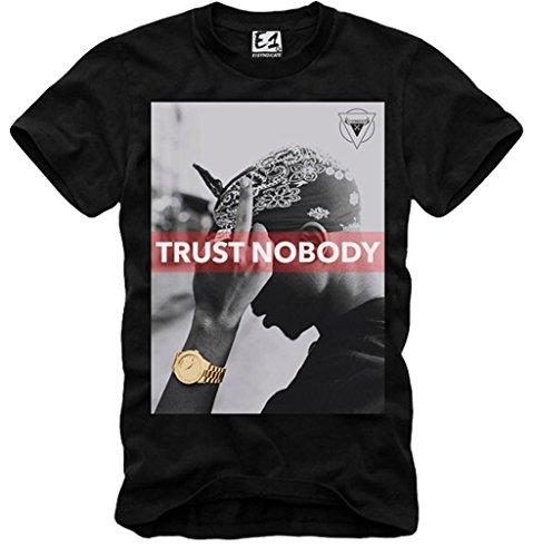 E1Syndicate–Camiseta de manga corta para hombre 2Pac Trust nadie Tupac Notorious B.I.G Last Kings negro S/M/L/XL -  -