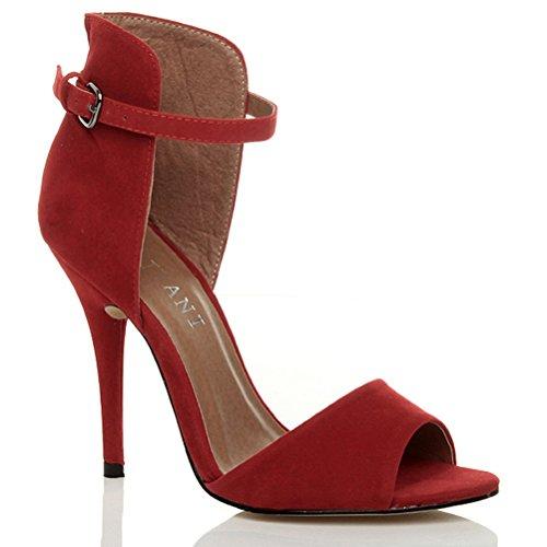 Damen Hohen Absatz Kontrast Zweifarbig Knöchelriemen-Sandalen Schuhe Größe Rotes Wildleder