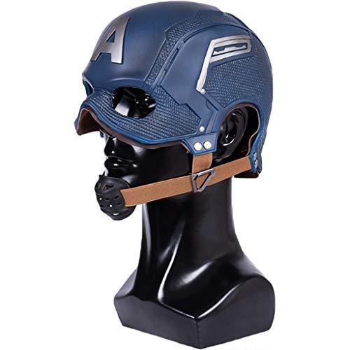 QWEASZER Neue Captain America 3 PVC Helm Maske Captain America: Civil War, Marvel Avengers Maske COS Halloween Helm Requisiten Deluxe Edition Einstellbar,New Captain America-53~62cm