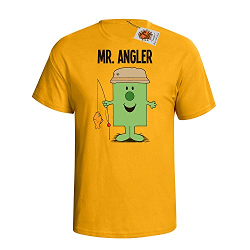 `Mr Angler` mens herren Hobbies / Berufe perfect Fishing gift t shirt Gelb