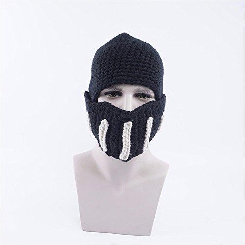 OSISDFWA Mode Herbst Und Winter Rom Krieger Aus Cape Gladiator Handgefertigte Wollmütze Männer Maske. Schwarz Knitted Hat