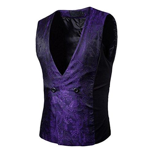 Hibote Chalecos de Vestir para Hombres Slim Fit Chaleco de Traje de Calidad para Hombre Chaleco de Hombre Chaleco de Negocios Formal sin Mangas Purple M