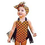 OdeJoy Baby Mädchen Ärmellos Kürbis Gedruckte Mesh Bandage Offener Rücken Spielanzug Halloween Outfits Kleider Overall Mode Baumwolle Romper Mesh-Rock Jumpsuit (Orange,70)
