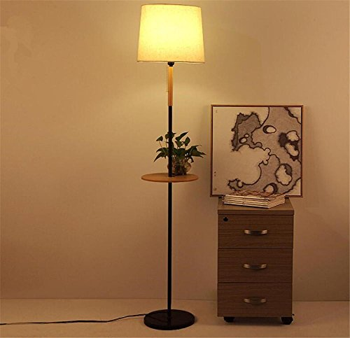 bzjboy-lmpara-de-pie-lectura-torchiere-lmpara-de-pie-tela-lampshade-mesa-de-madera-de-hierro-forjado