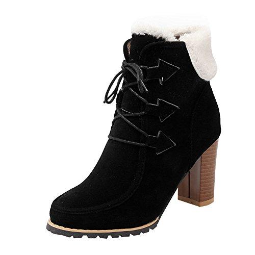 Mee Shoes Damen chunky heels runde Schnürsenkel kurzschaft Stiefel Schwarz