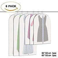 zimo 6 TLG Set Kleidersack – 60 x 105 cm + 60 x 135 cm Kleiderhülle Anzugsack Anzughülle mit Reißverschluss transparent atmungsaktiv für Kleider und Anzüge