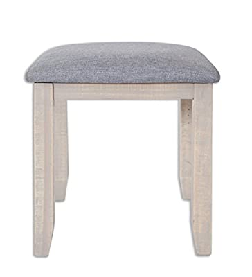 Melbourne Reclaimed White Wash Waxed Solid Pine Dressing Table Stool / Fully Assembled Padded Stool / Shabby Chic Furniture - cheap UK light shop.