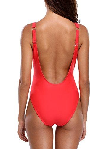 CharmLeaks Damen Einteiler Figuroptimizer Racerback Sport Badeanzug Elegance Schwarz 3XL TGIF Rot