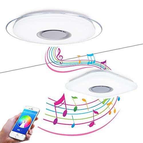 FIREBIRD LED Plafonniers Avec Haut-parleur Bluetooth, APP Smartphone et Télécommande,La Luminosité et Les Couleurs Ajustent,Mode RGB,Ronde Φ450mm(17.7in) 36W