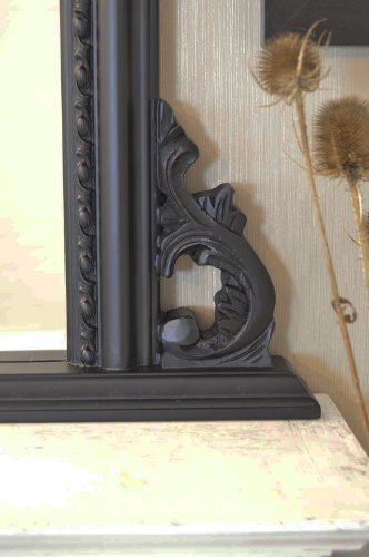 Classic French Inspired Satin Black Overmantle Mirror With Elegant Ornate Frame complete with Premium Quality Pilkington's Glass - Standard Size: 36 inches x 50 inches (117cm x 127cm) - ITV Show Supplier - BEST PRICE ON AMAZON - ONLY AVAILABLE FROM SHABBY CHIC MIRRORS