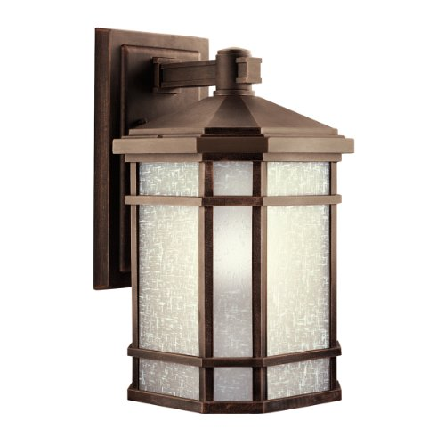 Prairie Rock (Kichler Lighting 9720PR Cameron 1-Light Incandescent Outdoor Wall Mount, Prairie Rock with White-Etched Linen Glass, 18-Inch by Kichler)