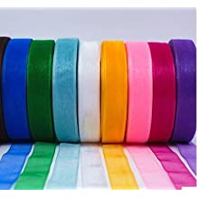 GADIA Satin Ribbons, 1/2-inch x10M Each, 100M (Multicolour) - Set of 10