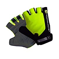 VeloChampion Summer Cycling Race Gloves - Fingerless Mitts with Pro Palm (Black/Fluoro Yellow, Medium)