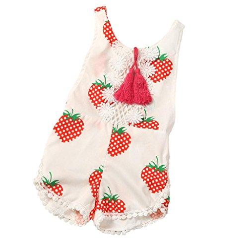 Bekleidung Longra Säugling neugeborenes Baby Mädchen Erdbeere Print ärmellose Quaste Sommer Strampler Overall Bodysuit Spielanzug Jumpsuit für Baby (0 -24Monate) (90CM 12Monate, White) (Erdbeer Kleinkind Mädchen)