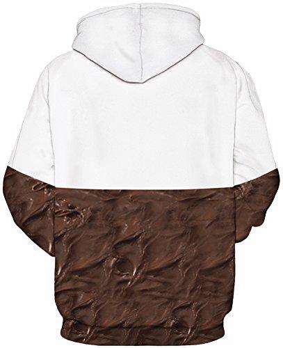 EmilyLe Herren Bunte Pullover mit Taschen Hoodie Long Sleeve Kapuzenpullover 3D Druck Cartoon Muster Sweatshirt A-Schokolade