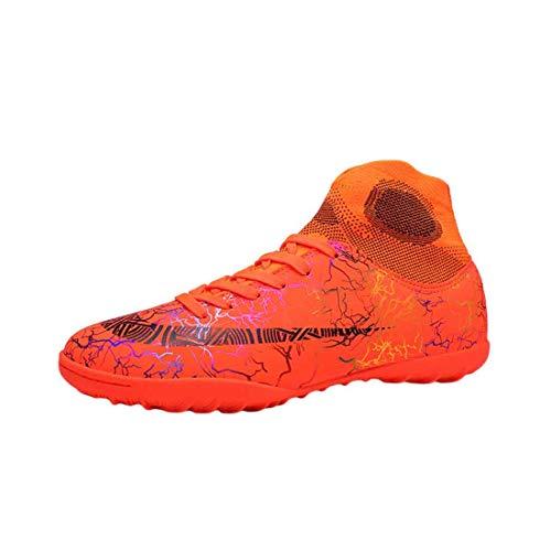 MUCHAO Unisex Kinder Fußball Sneaker Turf rutschfeste Unterseite einfarbig Bedruckte Schnürung Trainings Schuhe