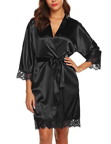 BESDEL Damen Kimono Robe Satin Bademantel mit Spitzenbesatz Kurzer Brautkleid aus Seide SchwarzSchwarz XL - Kimono Roben Frauen Kurze Seide Für