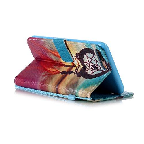 iPhone 8 Plus Hülle, STENES Stilvoll Serie Kartenfach Standfunktion Magnet Ledertasche Wallet TPU Stoßfänger Schutzhülle für iPhone 7 Plus / iPhone 8 Plus - Ballon / Blau Traumfänger / Sonnenuntergang