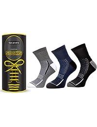 VaCalvers Mens Premium Cotton Ankle Socks (Naviya 3 Pairs _Black,Multicolor _Free Size)