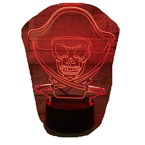 Halloween Piraten Cool Geschenk/Led Kreative Nacht Lampe/Acryl 3D Lichter/Baby Schlafzimmer Tischlampe/Mit Usb Kabel 3D5033D