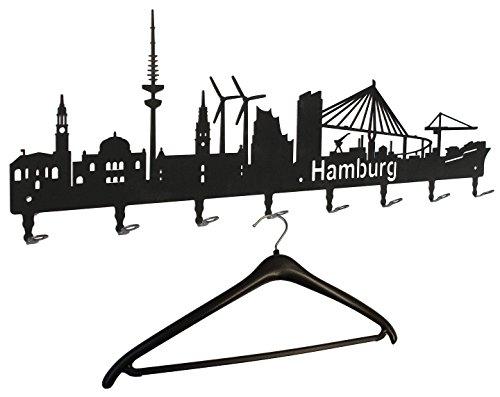 garderobe hamburg Wandgarderobe - Hamburg Skyline - Flurgarderobe 80 cm - Kleiderhaken, Hakenleiste, Garderobenleiste, Garderobenhalter, Garderobe - Metall, schwarz