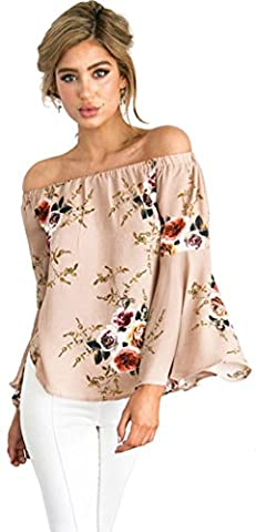 Longwu Fashion Women's Off Shoulder Floral Printed Blouse Shirt Long Sleeve Casual Tops Khaki-S